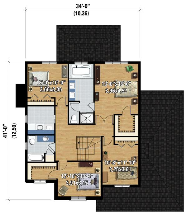 Traditional Floor Plan - Upper Floor Plan #25-4486