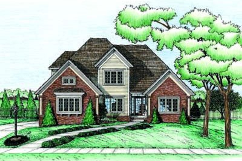 Traditional Exterior - Front Elevation Plan #20-754 - Houseplans.com