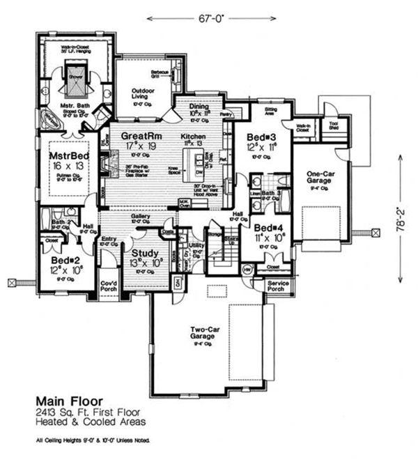Home Plan - European Floor Plan - Main Floor Plan #310-1314