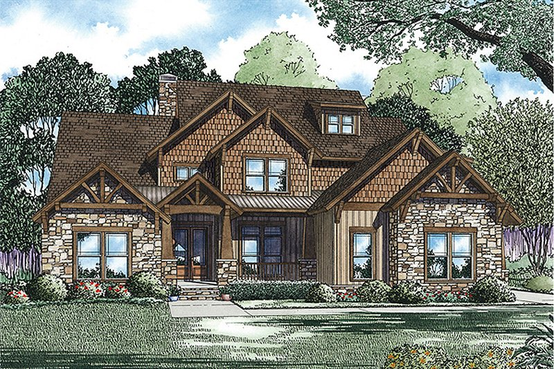 Craftsman Style House Plan - 4 Beds 3 Baths 3783 Sq/Ft Plan #17-2442 Exterior - Front Elevation