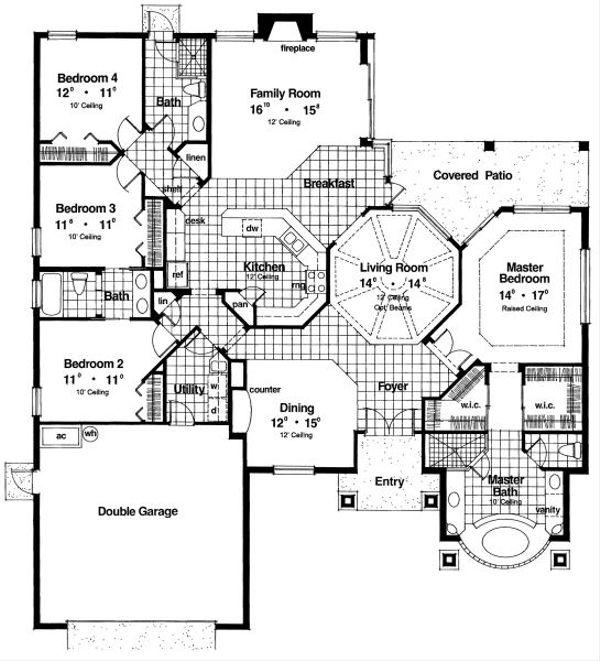 Mediterranean Floor Plan - Main Floor Plan Plan #417-249