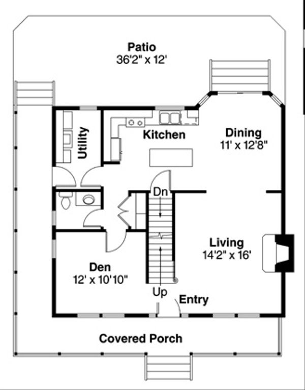 Architectural House Design - Traditional Floor Plan - Main Floor Plan #124-852