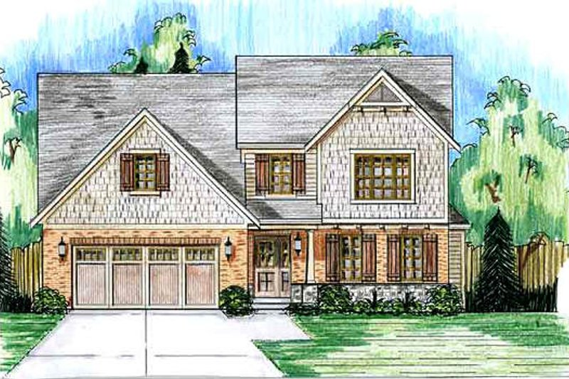 Traditional Exterior - Front Elevation Plan #46-495 - Houseplans.com