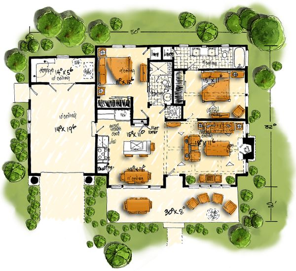 Home Plan - Cabin Floor Plan - Main Floor Plan #942-59