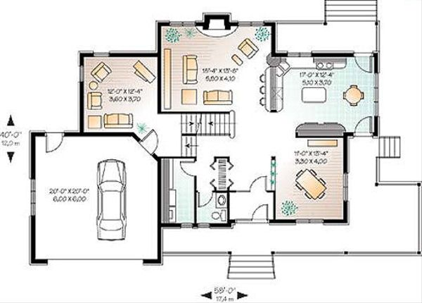 Country Floor Plan - Main Floor Plan Plan #23-282