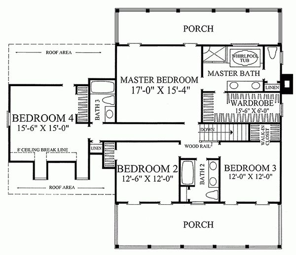 Southern Floor Plan - Upper Floor Plan Plan #137-146