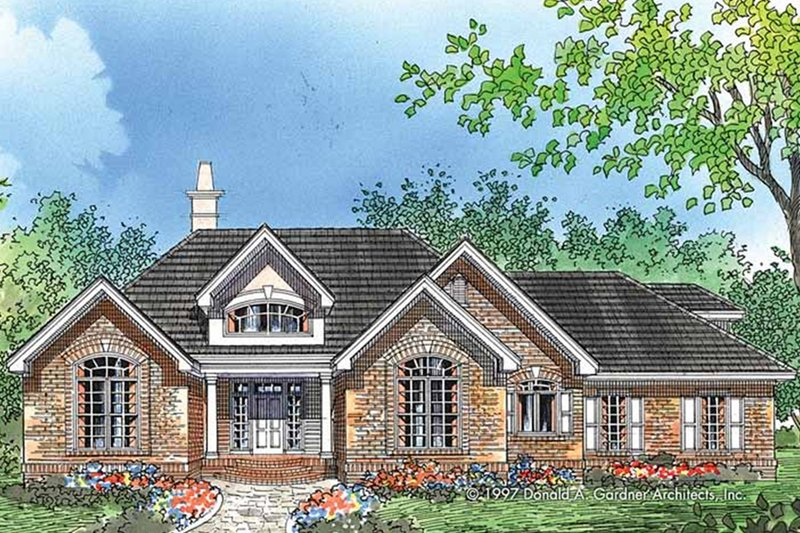 European Exterior - Front Elevation Plan #929-55