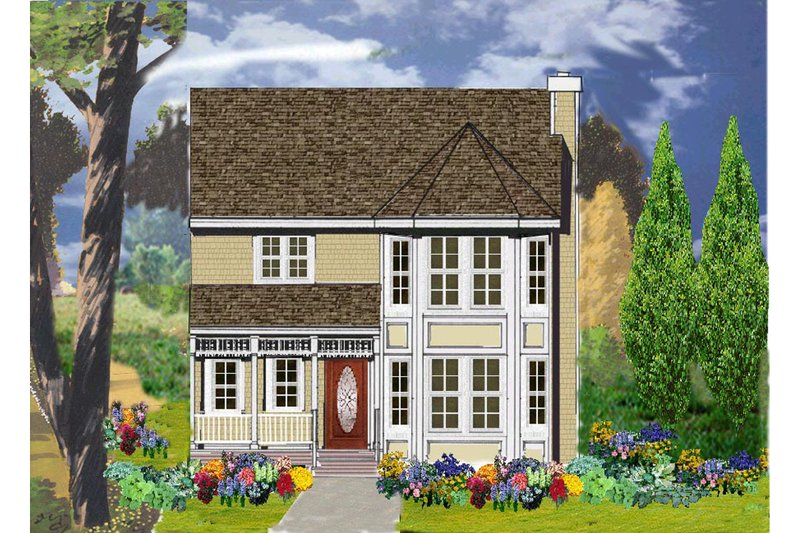 Country Style House Plan - 4 Beds 2.5 Baths 1569 Sq/Ft Plan #3-307 Exterior - Front Elevation