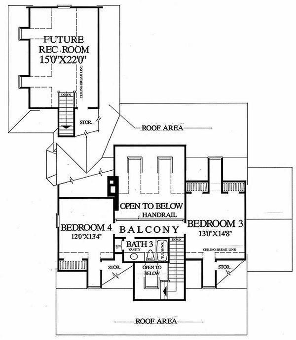 Southern Floor Plan - Upper Floor Plan Plan #137-169