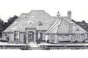 European Style House Plan - 4 Beds 3 Baths 2710 Sq/Ft Plan #310-867 Exterior - Front Elevation