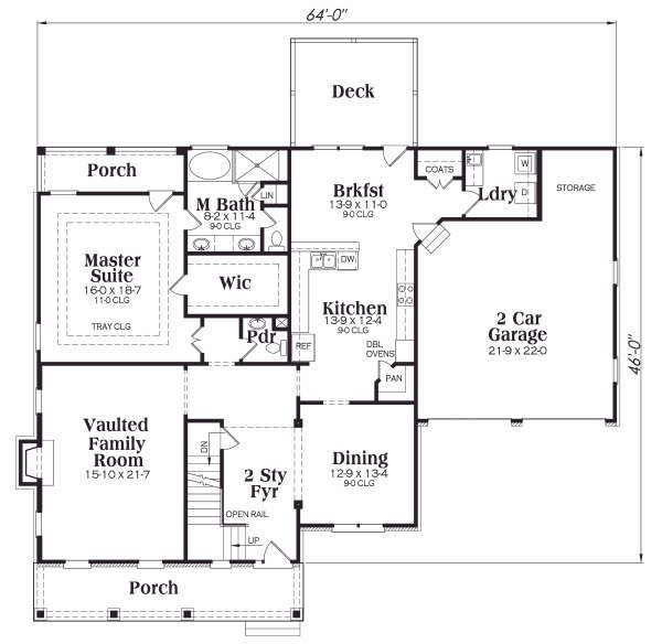 Craftsman Floor Plan - Main Floor Plan Plan #419-177