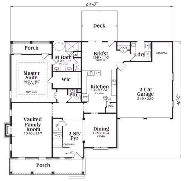 Craftsman Floor Plan - Main Floor Plan Plan #419-177