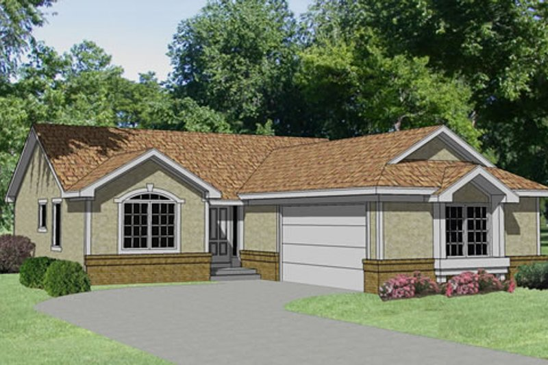 Traditional Style House Plan - 3 Beds 2 Baths 1286 Sq/Ft Plan #116-201 Exterior - Front Elevation