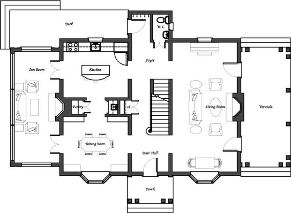 Colonial Floor Plan - Main Floor Plan Plan #492-2