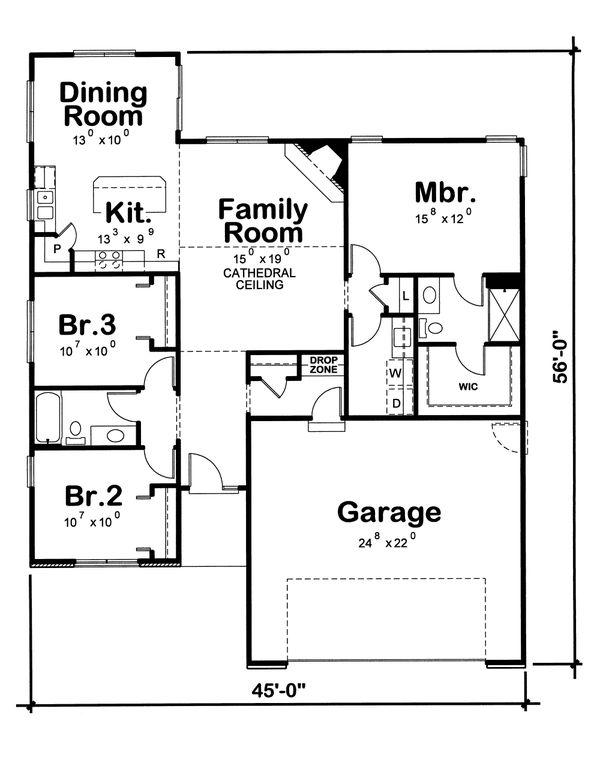 Home Plan - Traditional Floor Plan - Main Floor Plan #20-1792