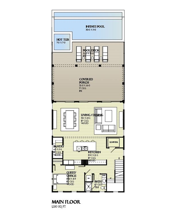 Beach Style House Plan - 4 Beds 3 Baths 2810 Sq/Ft Plan #901-114 Floor Plan - Main Floor Plan