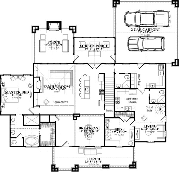 Country Floor Plan - Main Floor Plan Plan #63-417