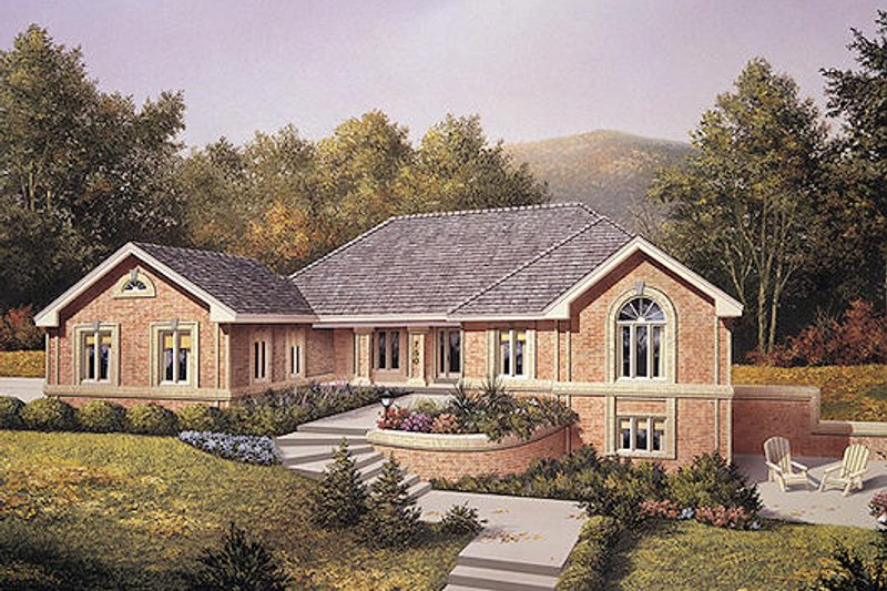 Traditional Style House Plan - 4 Beds 2.5 Baths 2900 Sq/Ft Plan #57-293 Exterior - Front Elevation