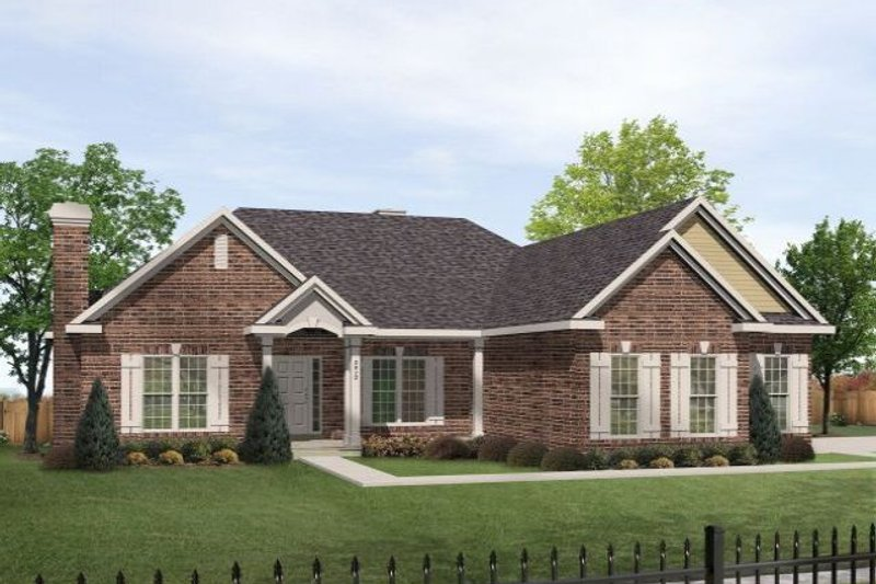 Traditional Style House Plan - 3 Beds 2.5 Baths 2598 Sq/Ft Plan #22-131 Exterior - Front Elevation