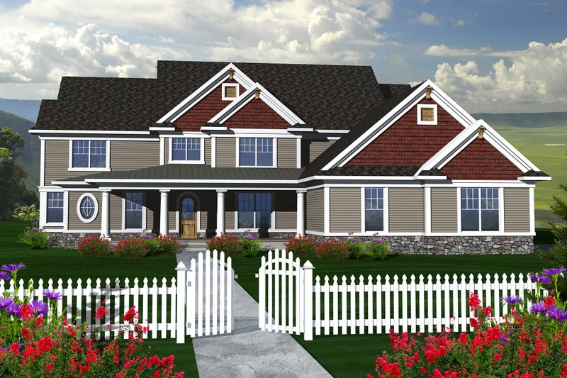 Country Exterior - Front Elevation Plan #70-1148