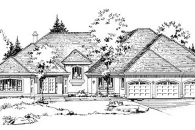 European Exterior - Front Elevation Plan #18-9009