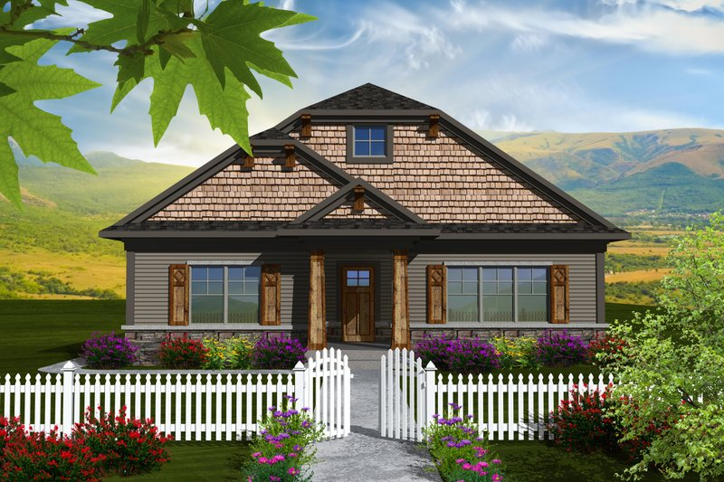 Craftsman Style House Plan - 2 Beds 2 Baths 1888 Sq/Ft Plan #70-1114 Exterior - Front Elevation
