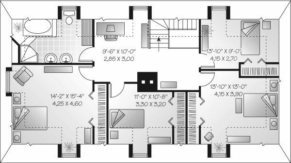 European Floor Plan - Upper Floor Plan Plan #23-713