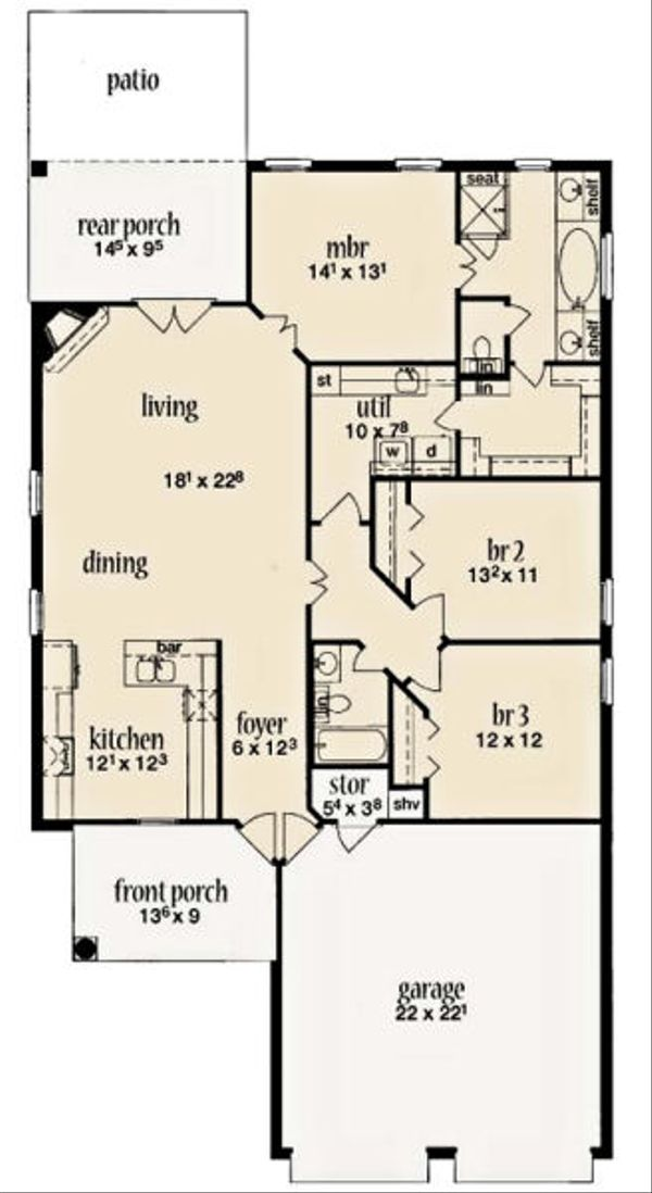 European Floor Plan - Main Floor Plan Plan #36-456