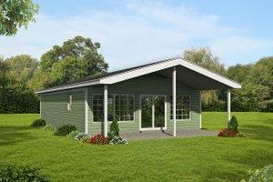 Cabin Exterior - Front Elevation Plan #1061-25