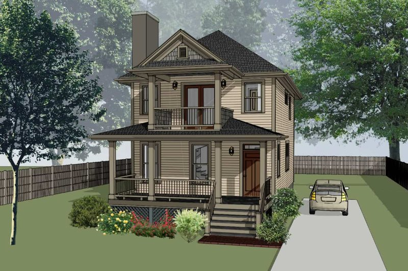 Southern Exterior - Front Elevation Plan #79-198