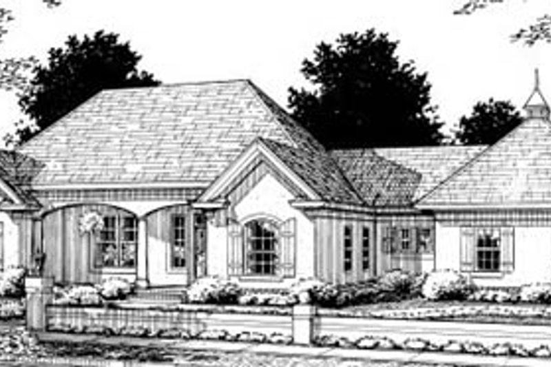 European Style House Plan - 3 Beds 2 Baths 1776 Sq/Ft Plan #20-322 Exterior - Front Elevation