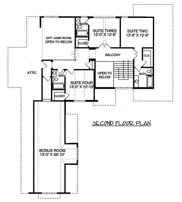 Craftsman Floor Plan - Upper Floor Plan Plan #413-856