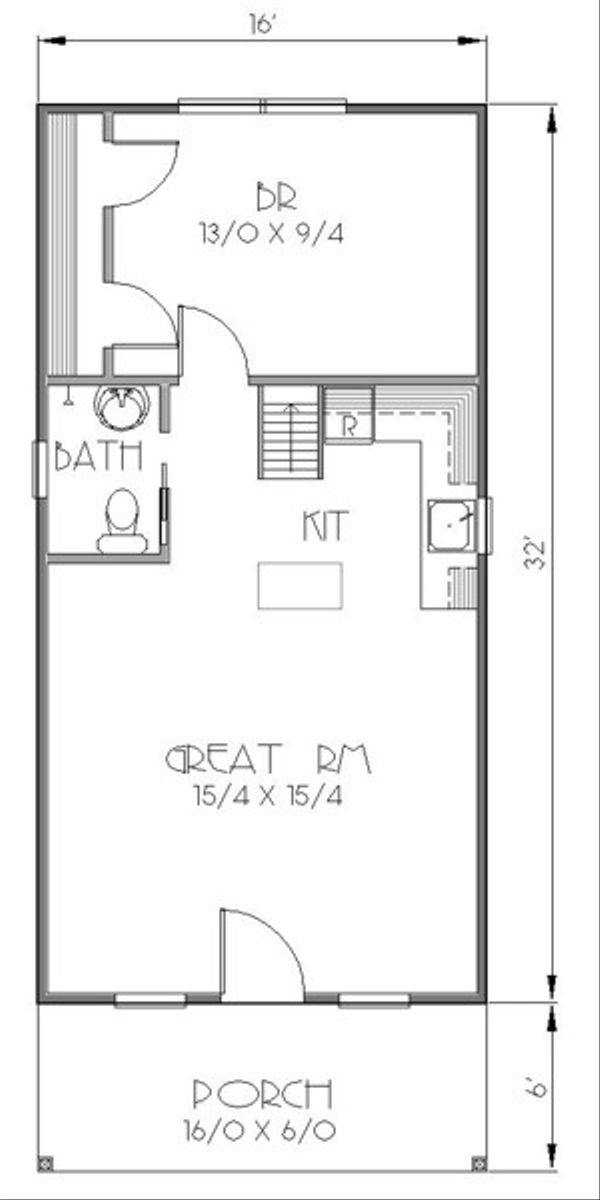 Traditional Style House Plan - 1 Beds 1 Baths 812 Sq/Ft Plan #423-38 Floor Plan - Main Floor Plan