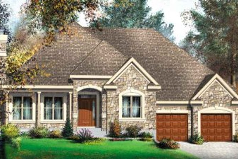 European Style House Plan - 3 Beds 2 Baths 1719 Sq/Ft Plan #25-4109 Exterior - Front Elevation
