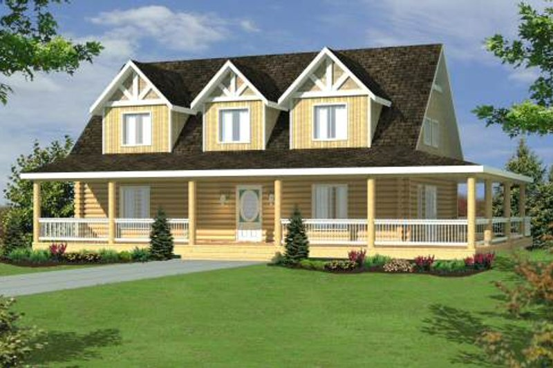 Log Exterior - Front Elevation Plan #117-555 - Houseplans.com
