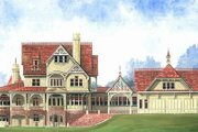 Victorian Style House Plan - 4 Beds 5.5 Baths 6728 Sq/Ft Plan #119-175 Exterior - Front Elevation