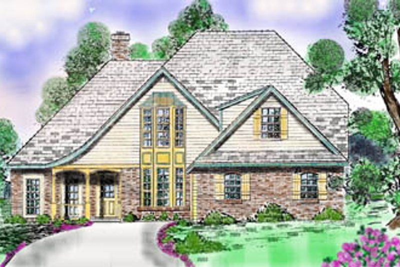 European Style House Plan - 4 Beds 3.5 Baths 2874 Sq/Ft Plan #52-136 Exterior - Front Elevation
