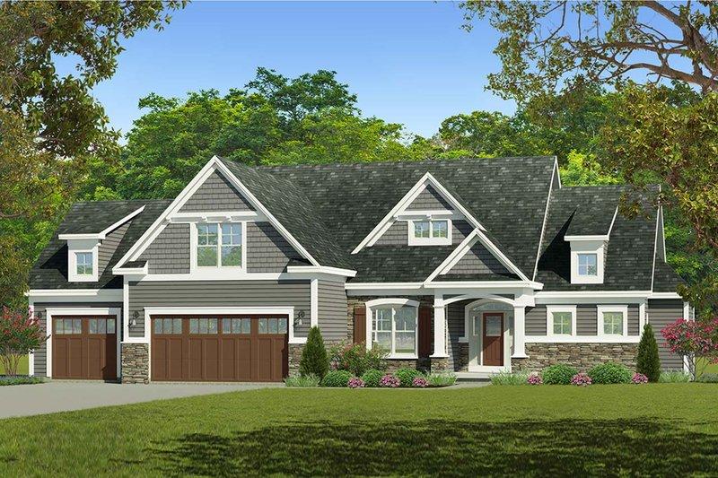 Architectural House Design - Craftsman Exterior - Front Elevation Plan #1010-234
