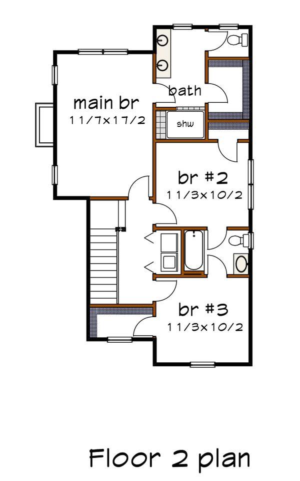 Craftsman Floor Plan - Upper Floor Plan #79-304