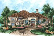 Mediterranean Style House Plan - 4 Beds 5 Baths 4128 Sq/Ft Plan #27-213 Exterior - Front Elevation