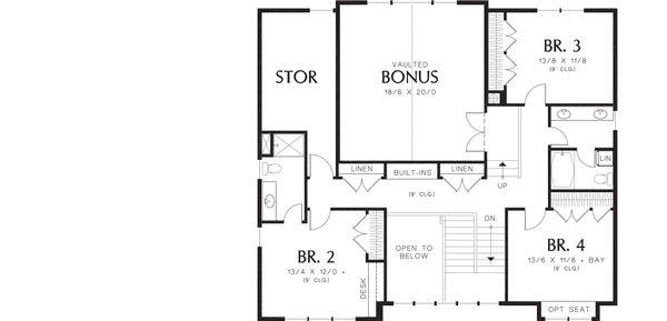 Craftsman Floor Plan - Upper Floor Plan Plan #48-249