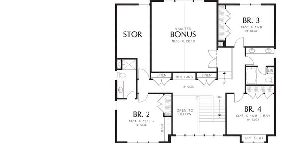 Craftsman Floor Plan - Upper Floor Plan Plan #48-249
