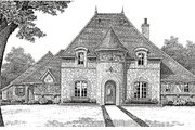 European Style House Plan - 4 Beds 3.5 Baths 3646 Sq/Ft Plan #310-651 Exterior - Other Elevation
