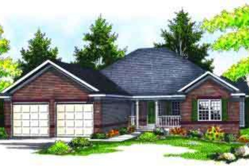 Traditional Style House Plan - 2 Beds 2.5 Baths 1587 Sq/Ft Plan #70-608 Exterior - Front Elevation