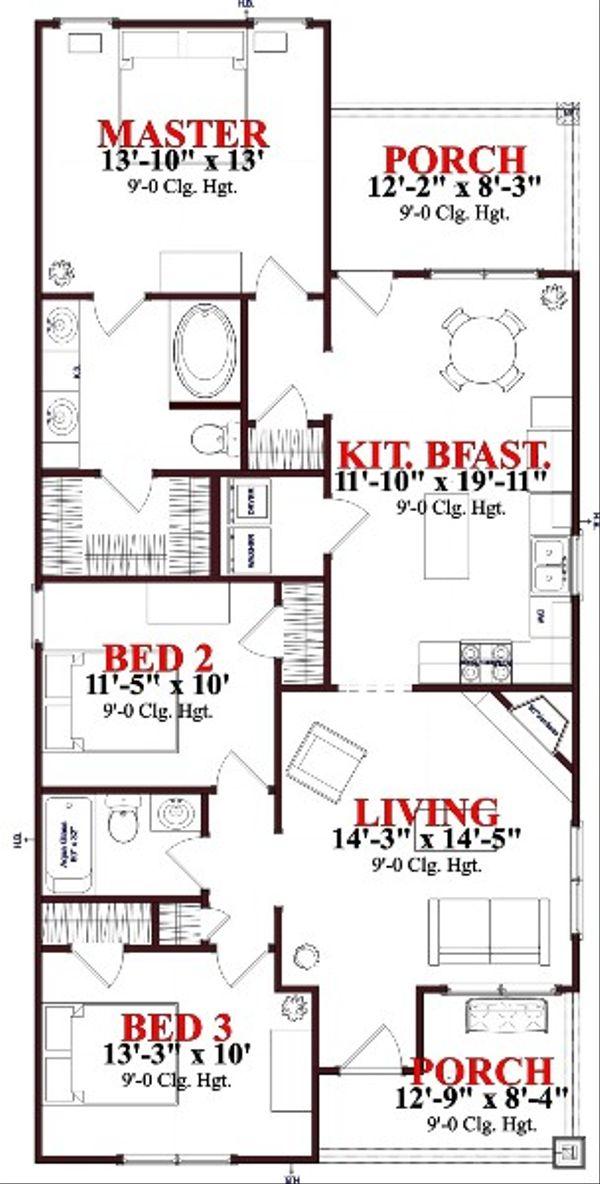 Bungalow Floor Plan - Main Floor Plan #63-188