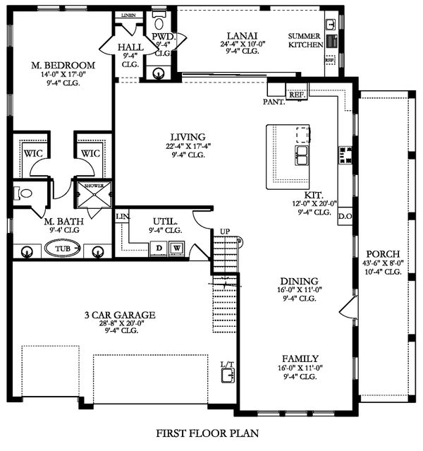 Farmhouse Floor Plan - Main Floor Plan Plan #1058-176