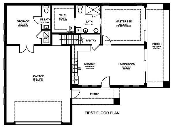 Ranch Floor Plan - Main Floor Plan Plan #1058-179