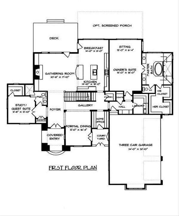 European Floor Plan - Main Floor Plan Plan #413-150