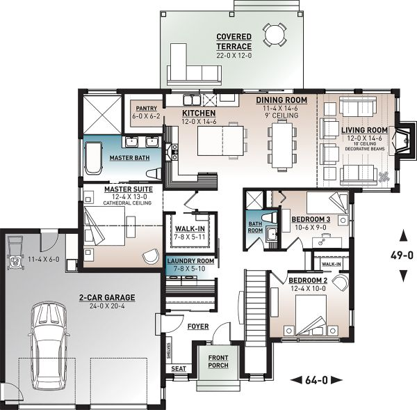 Contemporary Floor Plan - Main Floor Plan Plan #23-2726