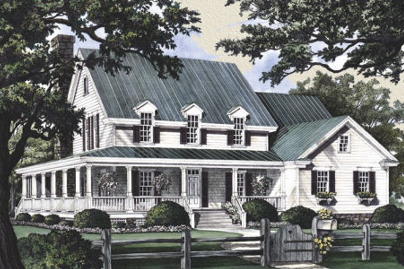 Country Exterior - Front Elevation Plan #137-216 - Houseplans.com